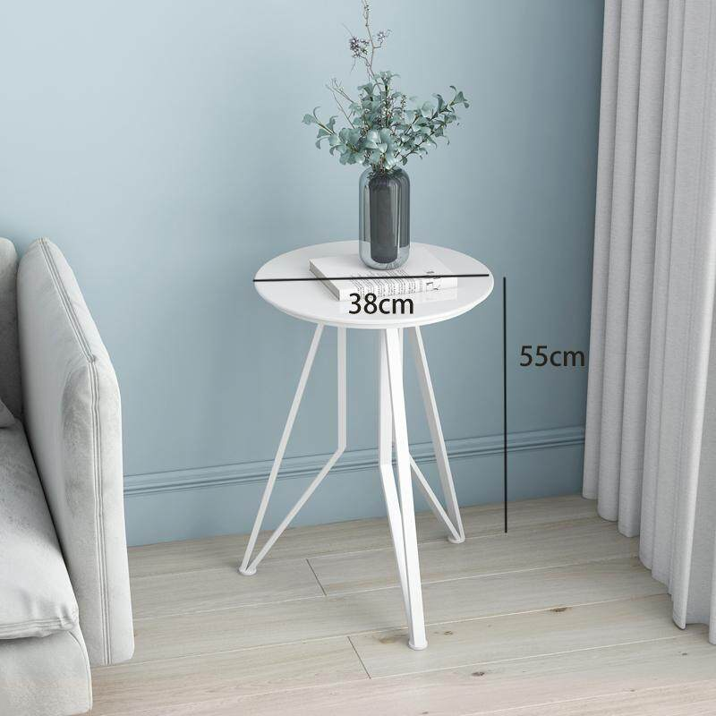 38x55cm, Snack Side Table, Real Marble Tabletop Furniture with Metal Frame, Mobile End Round Table for Coffee Laptop Tablet, Slides Next to Sofa Couch