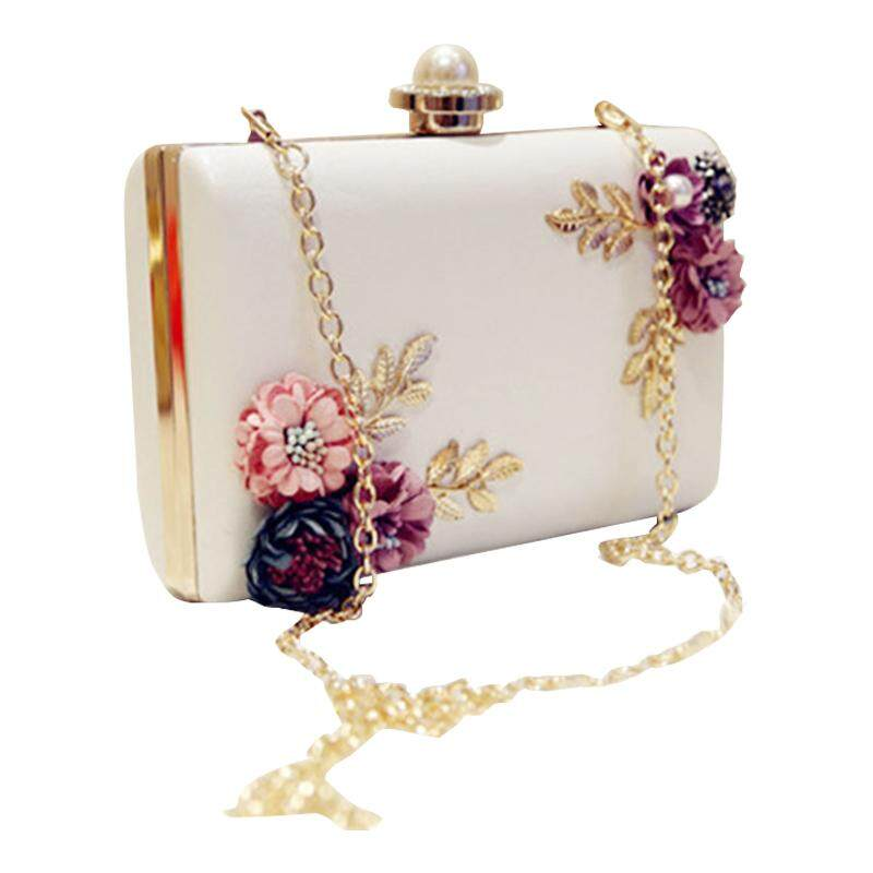 Fashion Women Leather Evening Bag Dinner Party Lady Wedding Flower Clutch  Purse(white) 20dedb1d40d99