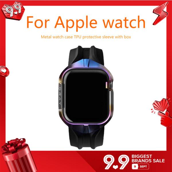 Ốp Kim Loại TPU Bảo Vệ Cho Apple Watch 42 Mm 44 Mm Kèm Hộp Phụ Kiện Thay Thế Thích Hợp Cho Đồng Hồ I Watch Series 4 5 6