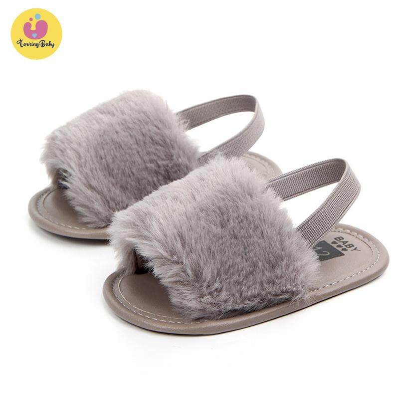 56cd984303ec2 ❤️lovingbaby free shipping ❤️Girls Soft Sole Shoes Plush Slide Sandal  Summer Toddler Sandal Princess Non-slip Crib Shoes First Walkers Baby  Walking ...