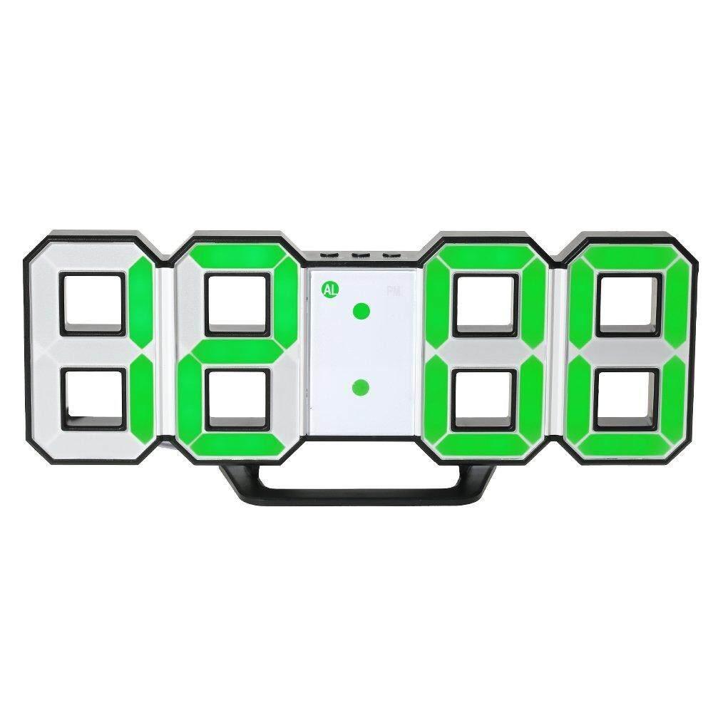 Led Wall Clock Table Clock Digital Alarm Clock With Led Display Brightness Adjustable (Green-Black)