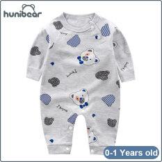【Hunibear】Newborn Bé Trai Quần Áo Nữ Một Mảnh Jumpsuit Đồ Ngủ Mới Cotton Romper Tay Áo Dài Homewear 0-1 Năm