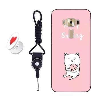 ใหม่แฟชั่นซิลิก้าเจลนุ่มเคสโทรศัพท์สำหรับ 5.5 ASUS ZenFone3 (ZE552KL) z012D กับเชือกและยืดหยุ่นขยาย Grip ที่วางโทรศัพท์ (Multicolor)-