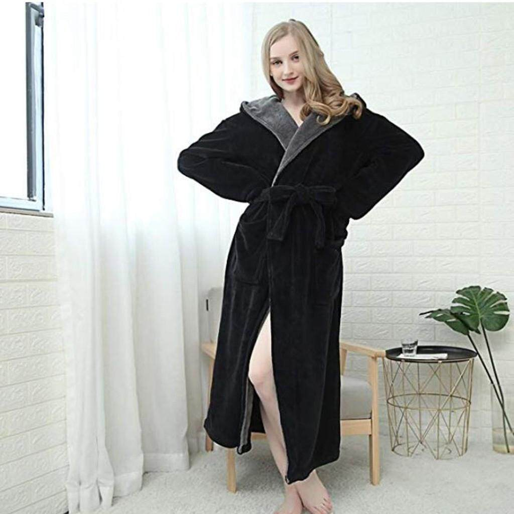 ebe99a2854 Lingerie Sleep Robes Women s Winter Hoodie Women s Soft Spa Full Length  Warm Light Bathrobe