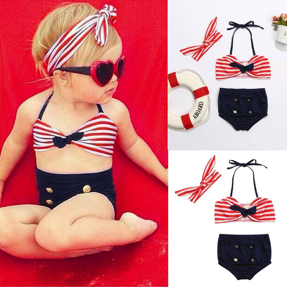 Haomian Hkhk New Fashion Hot 3pcs Infant Childrens Baby Girls Swimwear Straps Swimsuit Bathing Bikini Set Outfits By Haomian Hkhk.