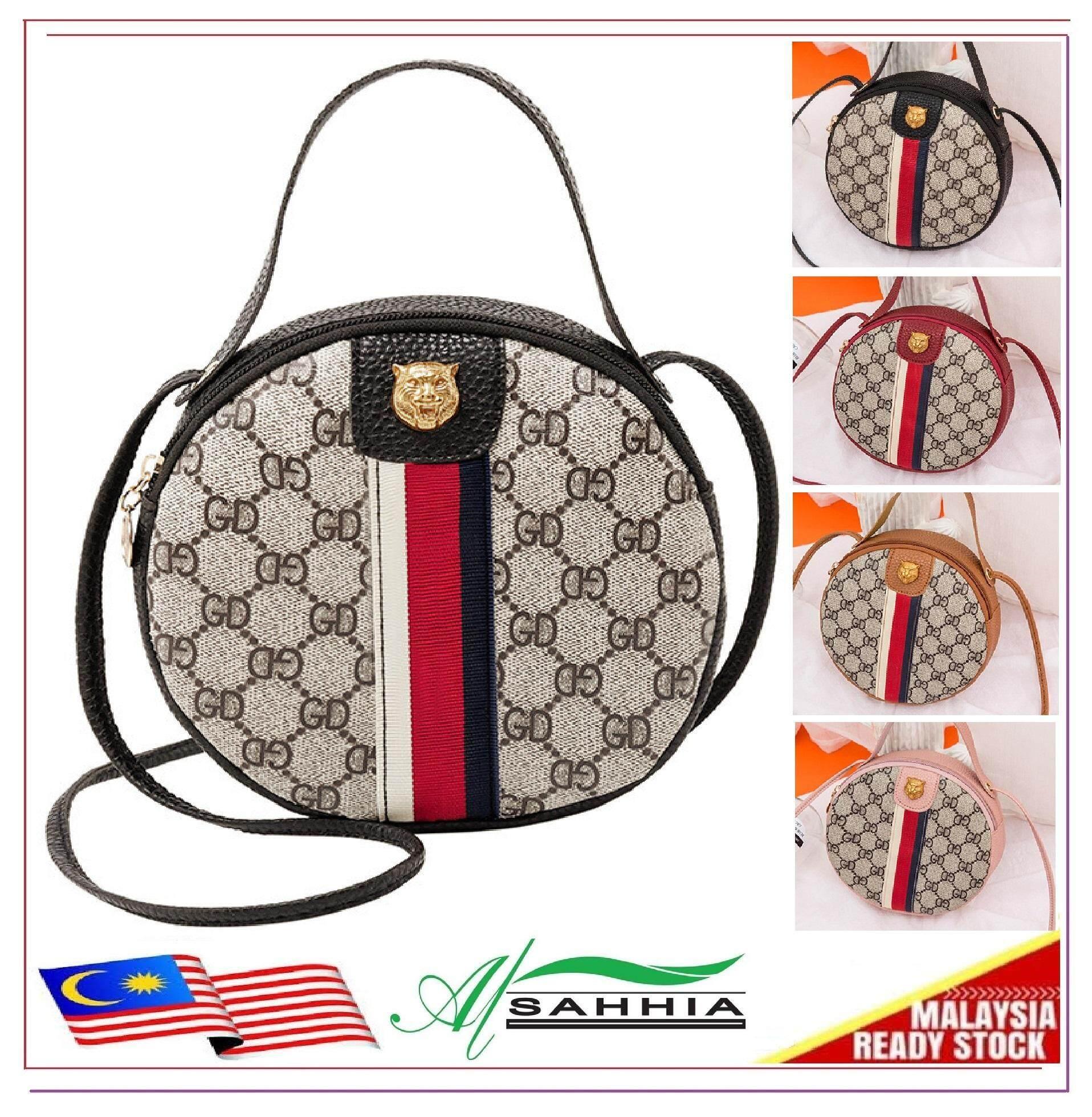 Al Sahhia Ready Stock Tiger GD 3 Line Round Sling Bag Handbag