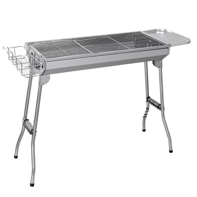 Stainless Steel Portable Folding Charcoal  BBQ Grill With Side Board & Basket