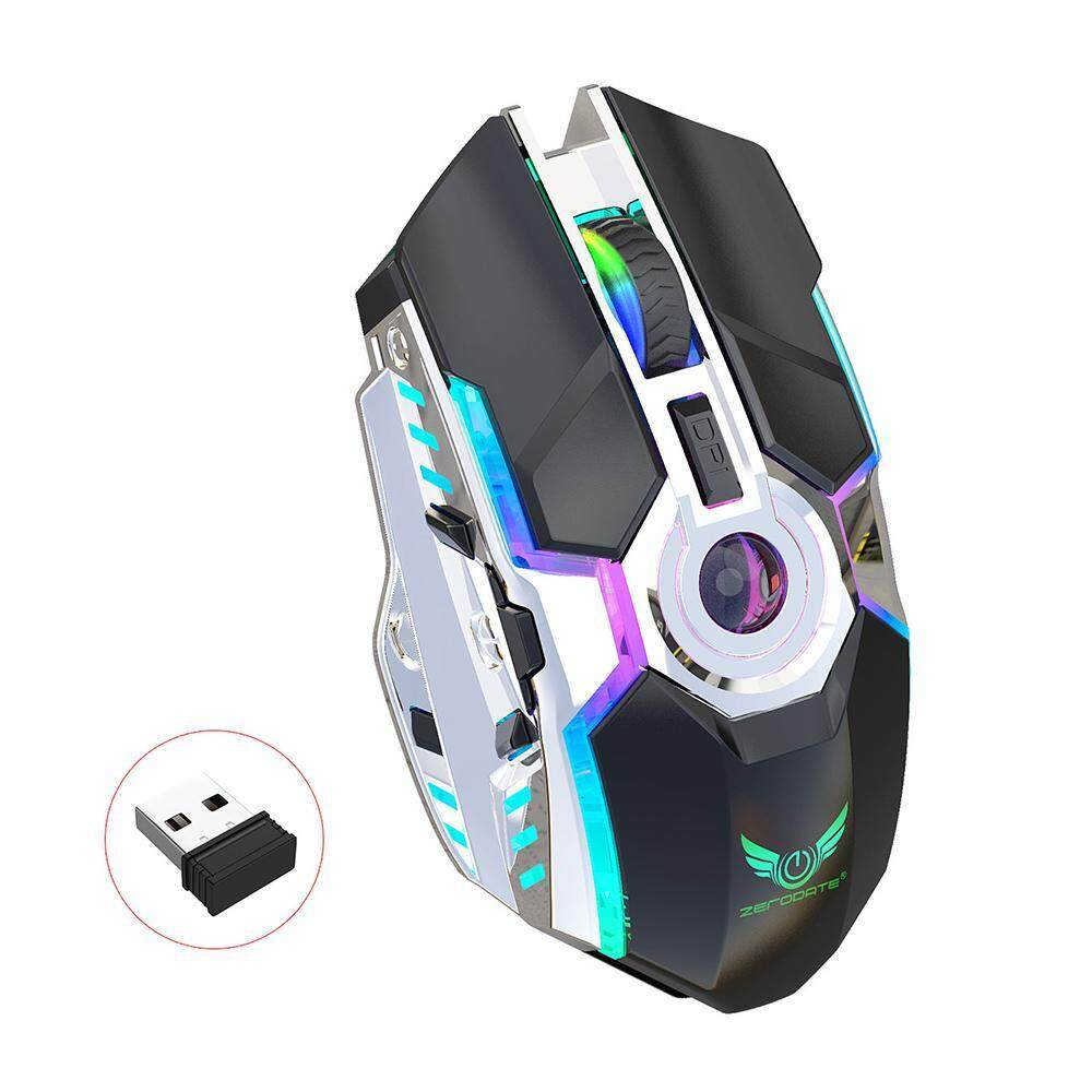 7c56ccb3979 OrzBuy Rechargeable 2.4Ghz Wireless Gaming Mouse Unique Silent Click 7  Breathing Led Light,3