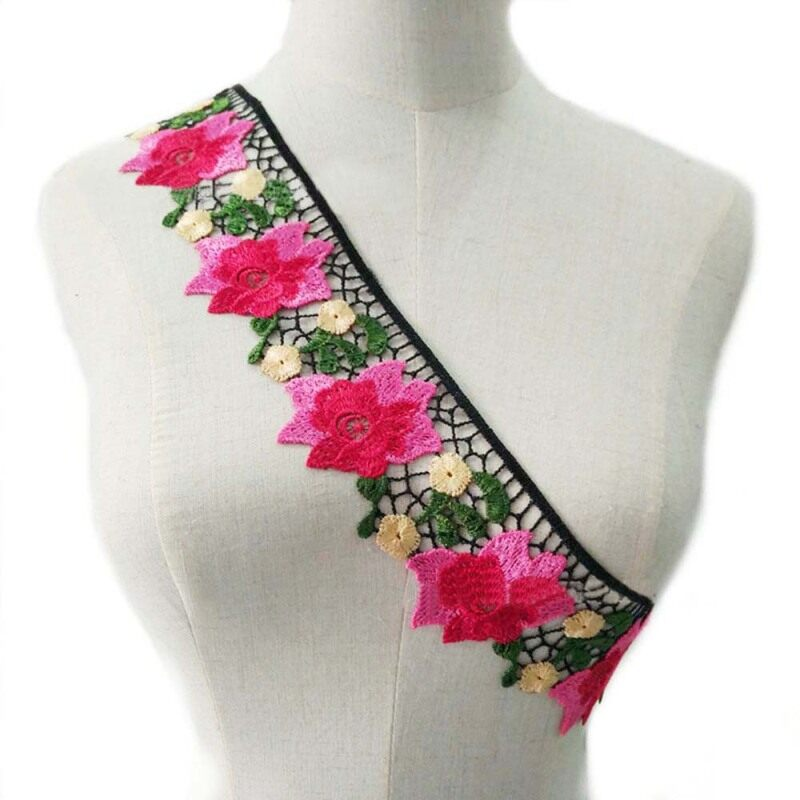 Craft Hoa Hồng Thủ Công Phong Cách Dân Tộc Váy Thêu Phụ Kiện May Mặc Polyester Ren Ren Trang Phục May Lacework