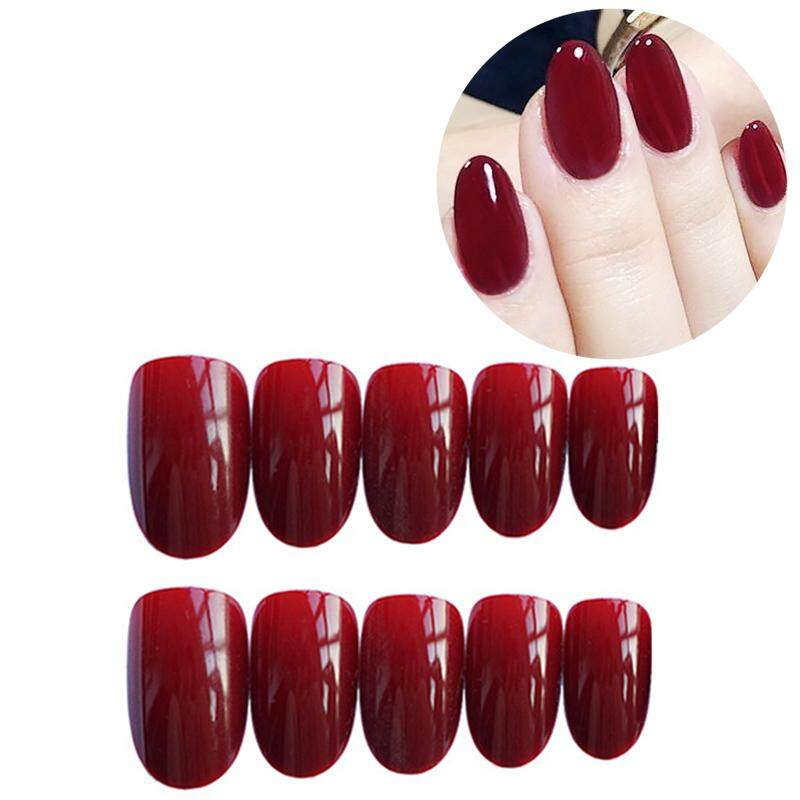 24 pcs/Set Vintage Wine Red False Nails Middle Long Round Head Full Nail Tips