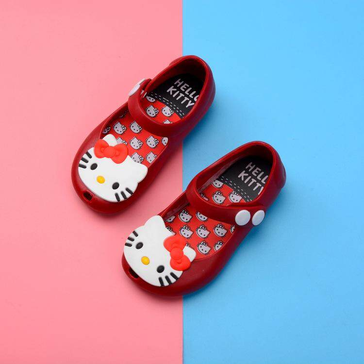 81717bede1 2018 New Jelly Sandals Hello Kitty Shoes Lovely Soft Princess Shoes KT  Melissa Shoes