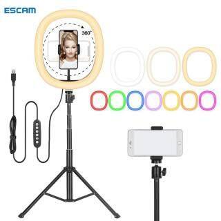 ESCAM RMD-11 Vòng Đèn LED RGB 10 Inch Đèn Chụp Ảnh Selfie Đèn Có Thể Điều Chỉnh Độ Sáng Với Chân Đế Điều Khiển, Đèn Vòng Có Chân Đế thumbnail