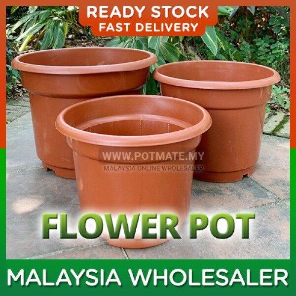 35cm - Flower Plant Plastic Pot Brown Round Design Indoor Outdoor Home Garden Nursery Pasu Bunga Pokok Plastik