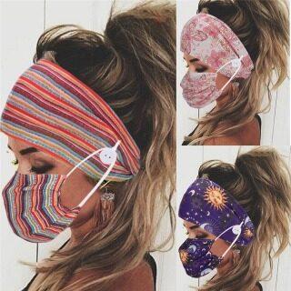 2 Chiếc Băng Đô Và Mặt Nạ In Hình Thời Trang Hai Mảnh Bộ, Băng Đô Cài Cúc Cho Nữ Đàn Hồi Mặt Nạ Chủ Với Miệng Mặt Nạ Headband + Mặt Nạ Bộ thumbnail