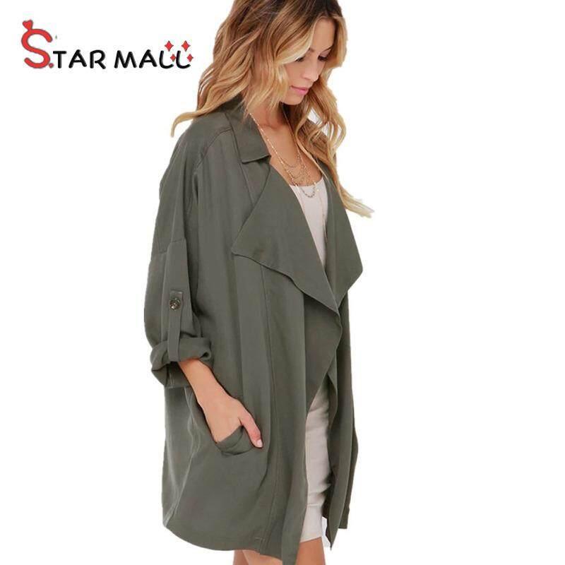 Attempt Mall ผู้หญิง Trench Coat เปิดกระเป๋าแขนยาวหญิง Casual Outwear เสื้อแขนยาว
