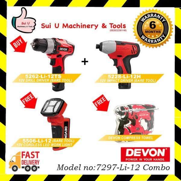 DEVON 7297-Li-12 combo FOC 5506-Li-12 Cordless LED Work Light & Compress Towel