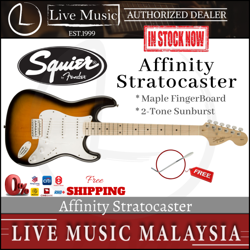Fender Squier Affinity Stratocaster Series 6-String Electric Guitar, Maple Fingerboard - 2-Tone Sunburst Malaysia