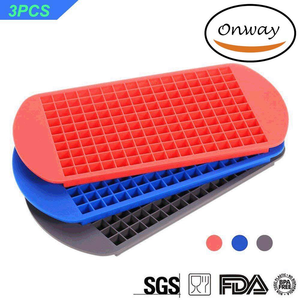 160 Mini Ice Cube Trays,onway 3-Pack Approved Food Grad Silicone Candy Grids Small Ice Maker Tiny Ice Cube Trays Chocolate Mold Mould Maker Molds (red + Blue + Black) By Onway.