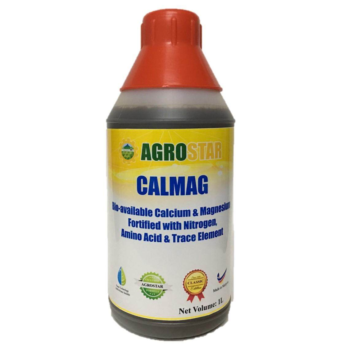 CALMAG - Bio-available Calcium and Magnesium Fortified with Nitrogen, Amino acid and trace element Liquid Fertilizer (Agrostar Brand) for Vegetables, Durian, Fruits & All ornamentals 1L (Black)