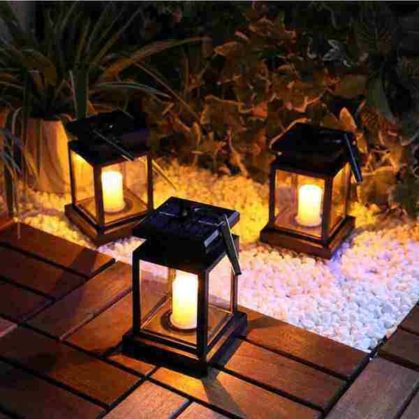 Dream Best Solar Power Vintage Lantern Led Candle Lights outdoor Waterproof Hanging lamp for Garden Yard Lawn Pathway Stairs wall Led Lamp Camping Hiking Fishing lighting