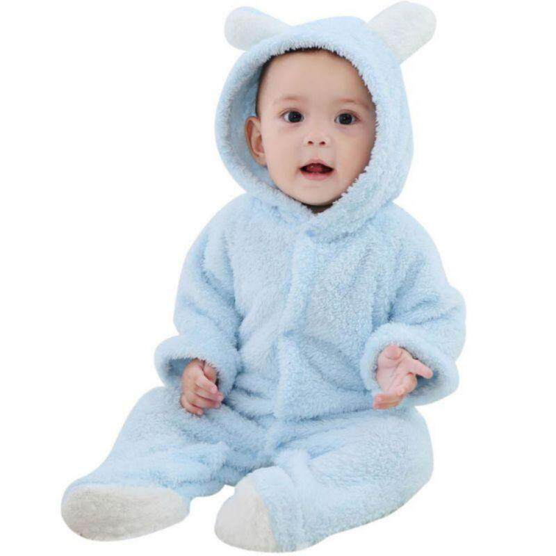 Newborn Baby Boys Girls Romper Hooded Fleece Jumpsuit Outfits Clothes