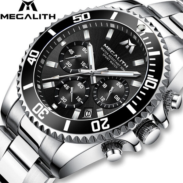 Jam tangan lelaki MEGALITH Luxury Men Watch Business Stainless Steel Luminous watch for Man  Quartz Watches Chronolograph Gents Wristwatch Clock Malaysia