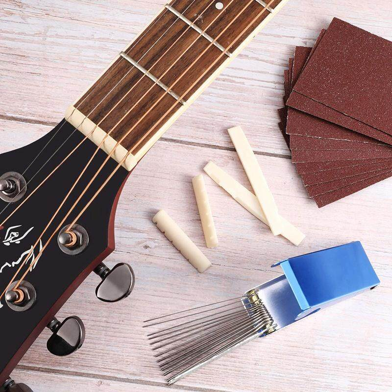 Guitar Sanding Tool Set Includes 2 Sets Guitar Bridge Saddle and Nuts 9 Pieces Sand Paper Guitar Bass Ukulele File Tool