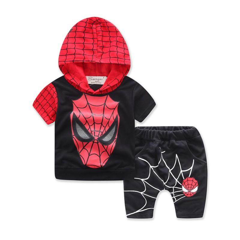 Kids Baby Boys Spider-Man Summer Top Cartoon T-Shirts Hooded Sweatshirts Clothes