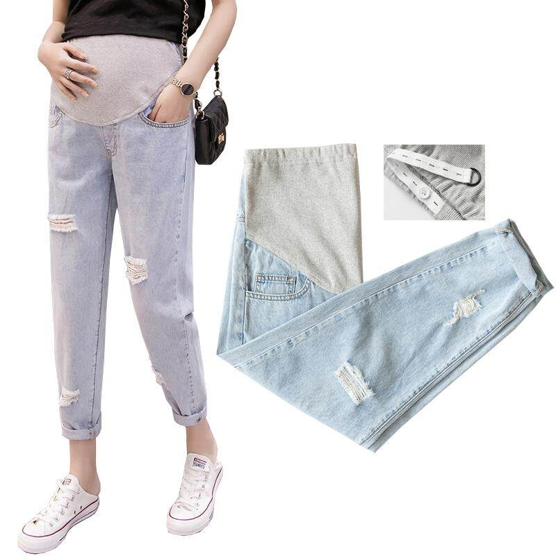e82f2a0819638 Maternity Jeans Summer Wear Hole Legging Elastic Waist Belly Support Capris  for Pregnant Woman Pregnancy Pant