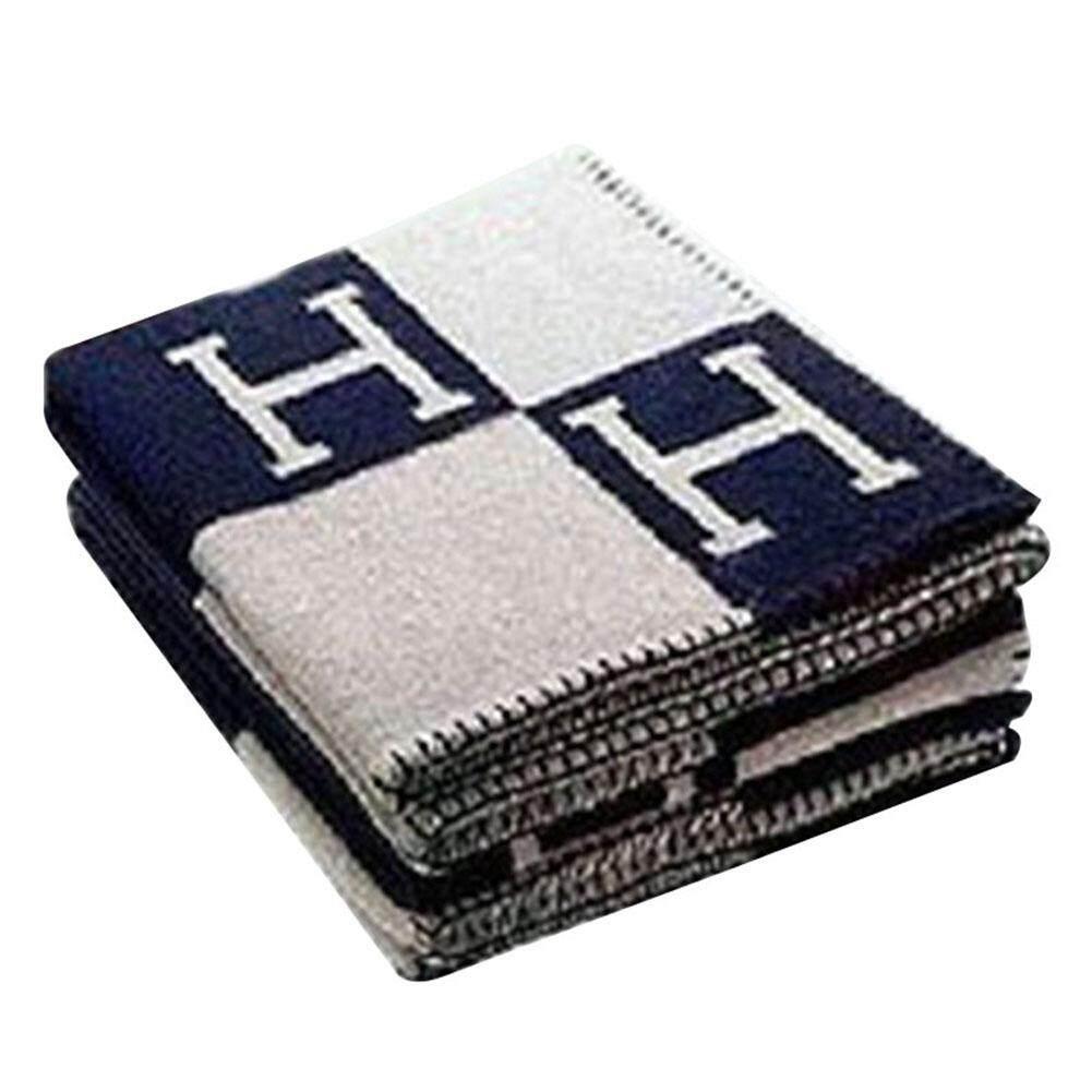 ZH 130*180cm Fashionable Comfortable H-pattern Wool Cashmere Plaid Blanket Soft Warm Blanket Bed Sheet for Sofa Car Travel Dimensions:130*180cm  Orange H