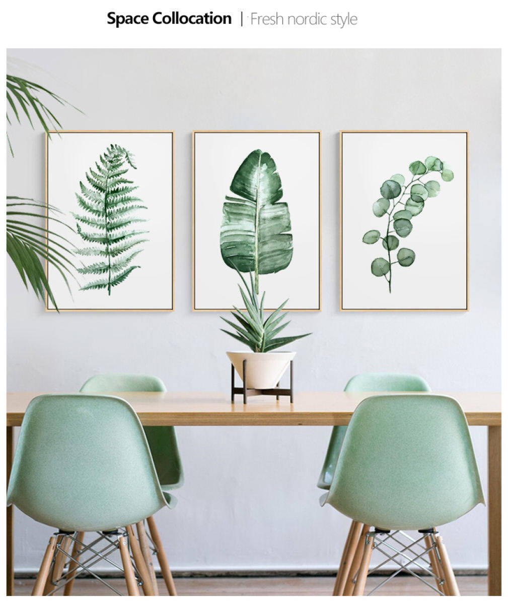 Meet A Nordic Pastoral Small Fresh Living Room Decorative Wall Painting Modern Minimalist Plant Green Leaf Home Bedroom Painting Lazada