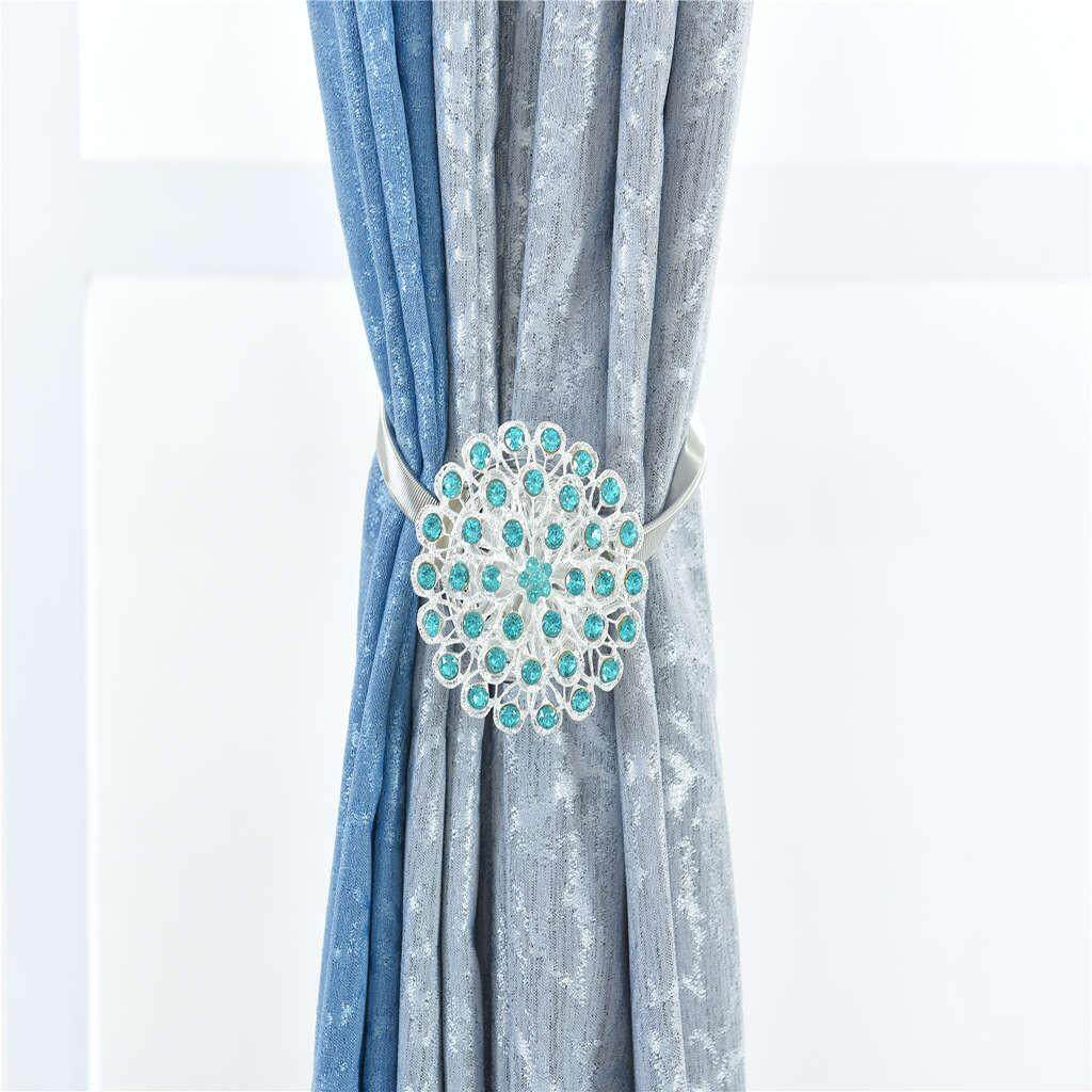 Denetytres Magnetic Crystal Curtain Blossom Clips with Stretchy Wire Rope Home Decoration