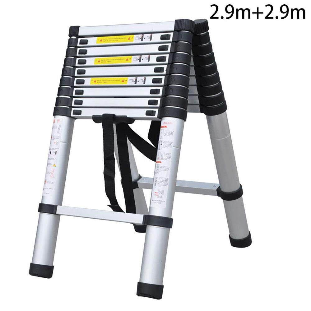 Double-sided telescopic aluminum ladder Household aluminum ladder Portable portable ladder engineering use 2.9+2.9 meters