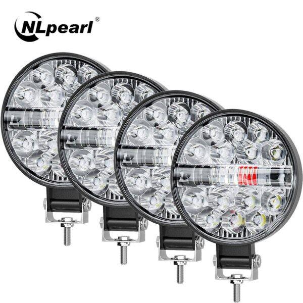 Đèn Rọi Thanh LED 42W 48W Đèn Nhấp Nháy Ô Tô Ba Màu Xanh Trắng Đỏ Cho Xe Tải Offroad 4X4 ATV SUV Đèn LED Làm Việc 12V 24V