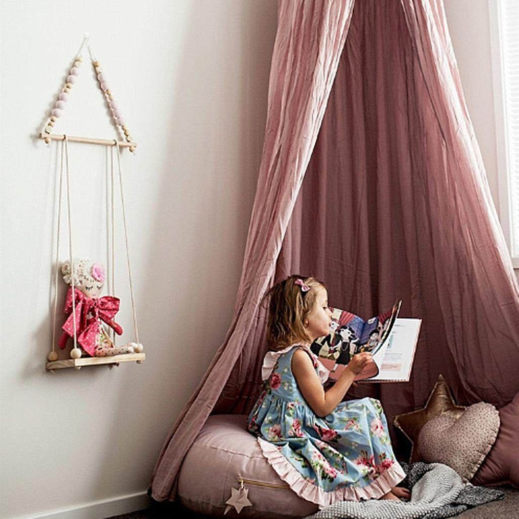 Wall Wooden String Beads Frame Hanging Shelf Hanger Props Kids Room Decor