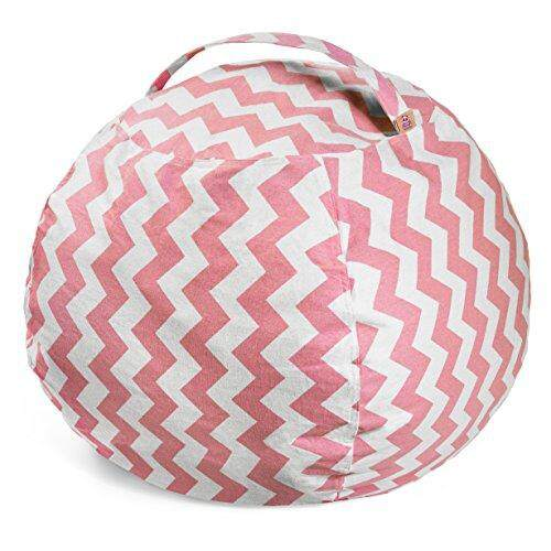 Lucky Doos Extra Large Stuffed Animal Bean Bag Chair - 38 Soft Jumbo Cover and Pink Chevron Cotton Canvas for Kids - Teddy Bear and Plush Stuffable - XL Chairs and Toy Storage