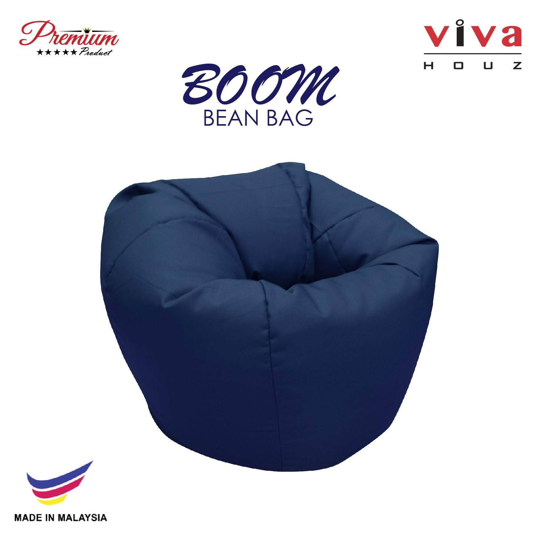 Hot Selling : Viva Houz Boom Bean Bag Pouffe Sofa Chair L Size Navy Blue Made In Malaysia By Viva Living.