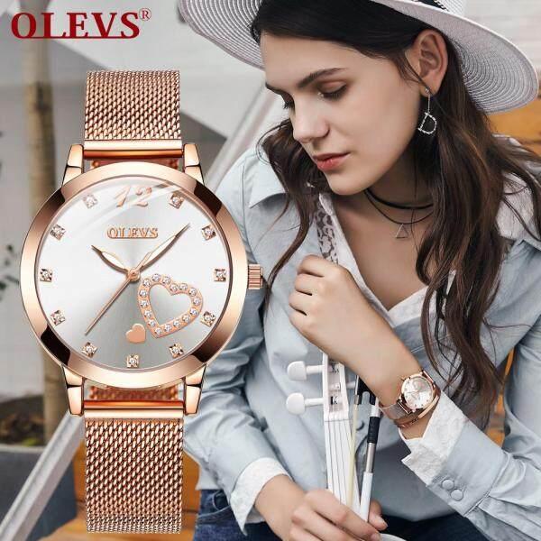 OLEVS Ban Đầu người phụ nữ Đồng hồ thời trang nữ Đồng hồ Milanis hồ đeo tay đồng hồ đen Trắng bán chạy