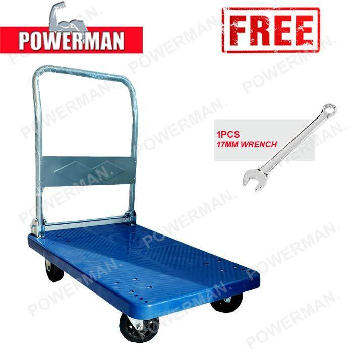 HEAVY DUTY FOLDABLE PVC PLATFORM HAND TRUCK TROLLEY 300KG + FREE 1PCS 17MM WRENCH
