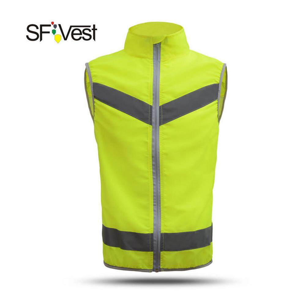SFVest High Visibility Reflective Safety Vest Reflective Novelty High Collar Vest Workwear Security Working Clothes Day Night Motorcycle Cycling Warning Safety Waistcoat