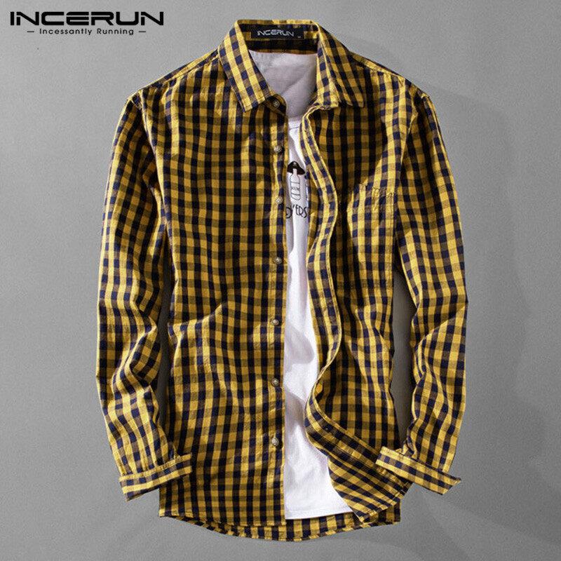 Bkolouuoe Mens Casual Long Sleeve Dress Shirt Plaid Loose Button Down Shirts Tops Blouse