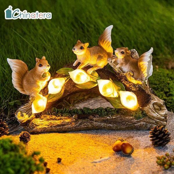 [Chinatera] Dễ Thương Sóc Trang Trí, Mô Hình Nhựa Đèn LED Năng Lượng Mặt Trời Không Thấm Nước Làm Vườn Nghệ Thuật Trang Trí Đèn Tượng Cảnh Quan Sân Vườn Thủ Công
