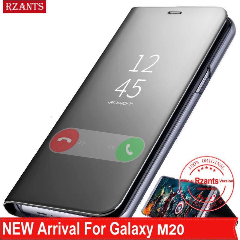 Rzants untuk Samsung Galaxy M20 Case Mewah Slim【mirror】intelligent Berdiri Ponsel Putar Kulit Casing