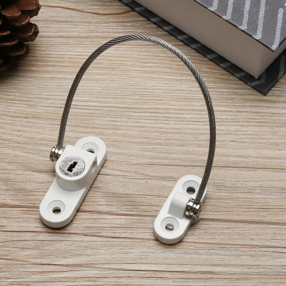 Window Restrictor Safety Device Key Cable Lock Baby Child Safe 200mm Limit White