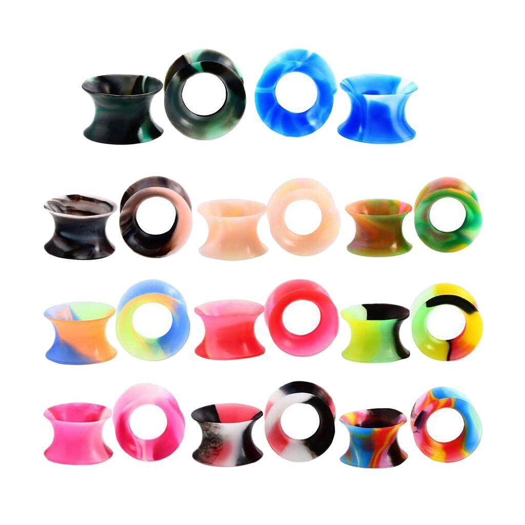 GuangquanStrade 11 Pairs Silicone Double Flared Flexible Ear Plugs Tunnels Assorted Color