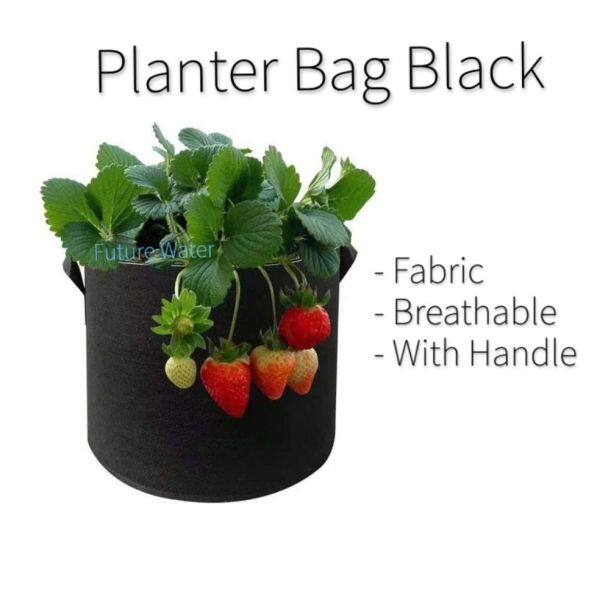 Planter Bag (Black) Non Woven Breathable Fabric with Handle Prevent Mould Good Water Drainage Small Plant Seedling