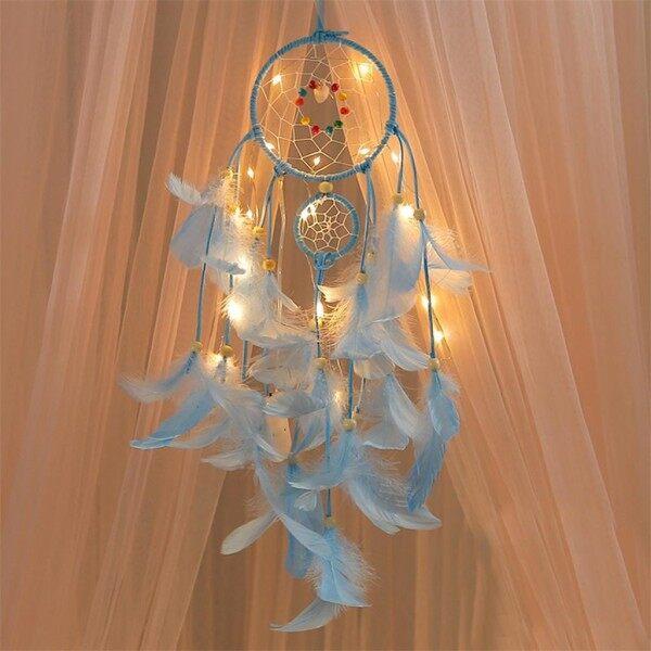 Bảng giá Life Home Nội Thất Cửa Hàng Handmade Dreamcatcher Lông Đêm Ánh Sáng Xe Treo Tường Phòng Trang Trí Nội Thất Đèn Led Cho Phòng