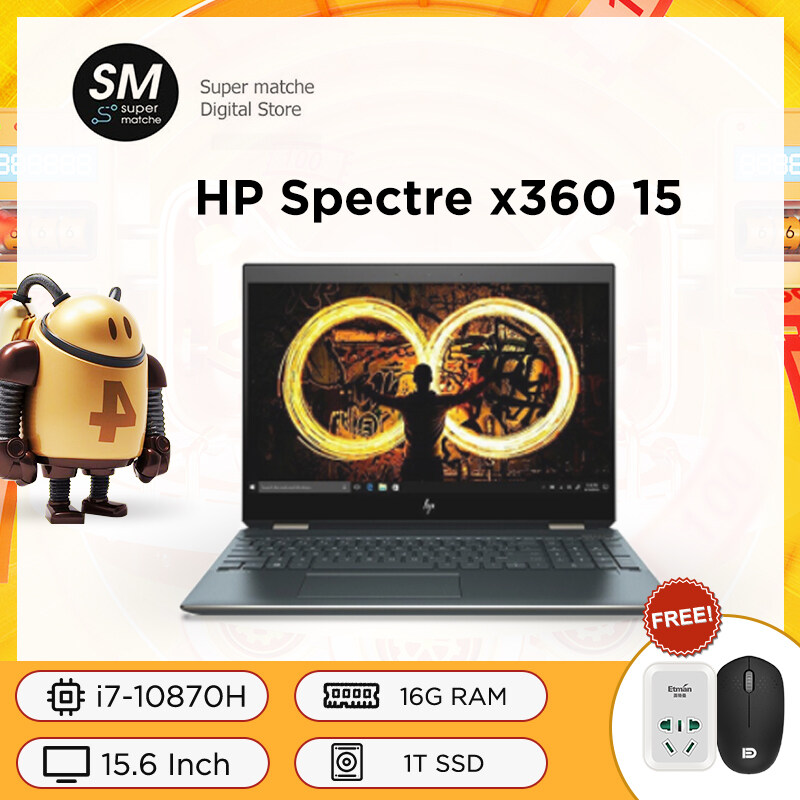HP Spectre x360 15 laptop 15.6-inch thin and light flip touch screen 2-in-1 laptop notebook with eight core i7-10870H 4K ultra-clear OLED 16G 1TB SSD GTX1650Ti 4G Malaysia