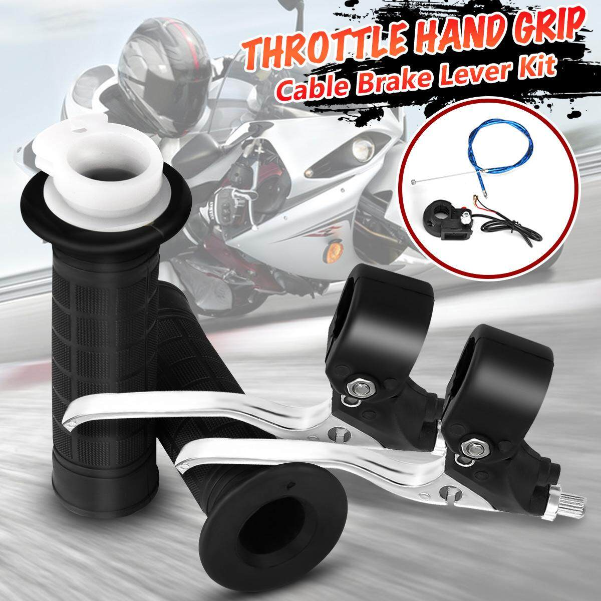 "Motorcycle 22mm 7//8/"" Handlebar Hand Grips With Twist Throttle Cable Brake Lever"