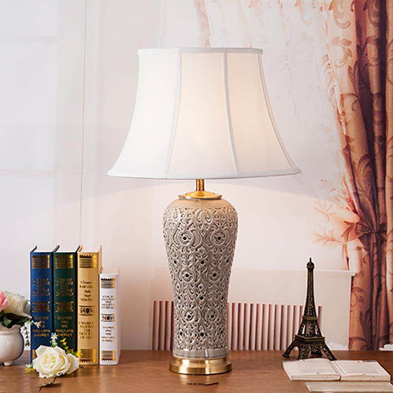 Chinese Luxury Handmade Ceramic Table Lamp for Study Bedroom Living Room